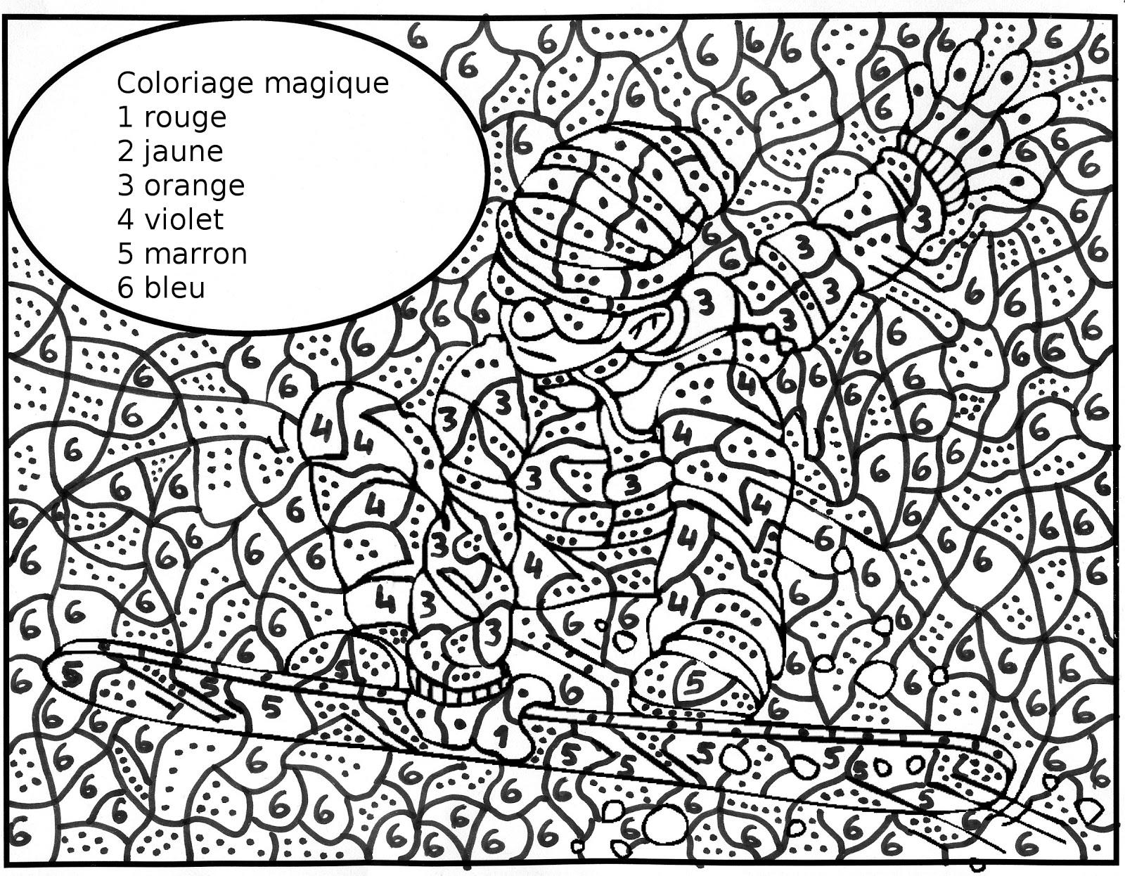 Maternelle: Coloriage Magique : Un Skieur Sur Sa Planche avec Coloriage Magique De Chat
