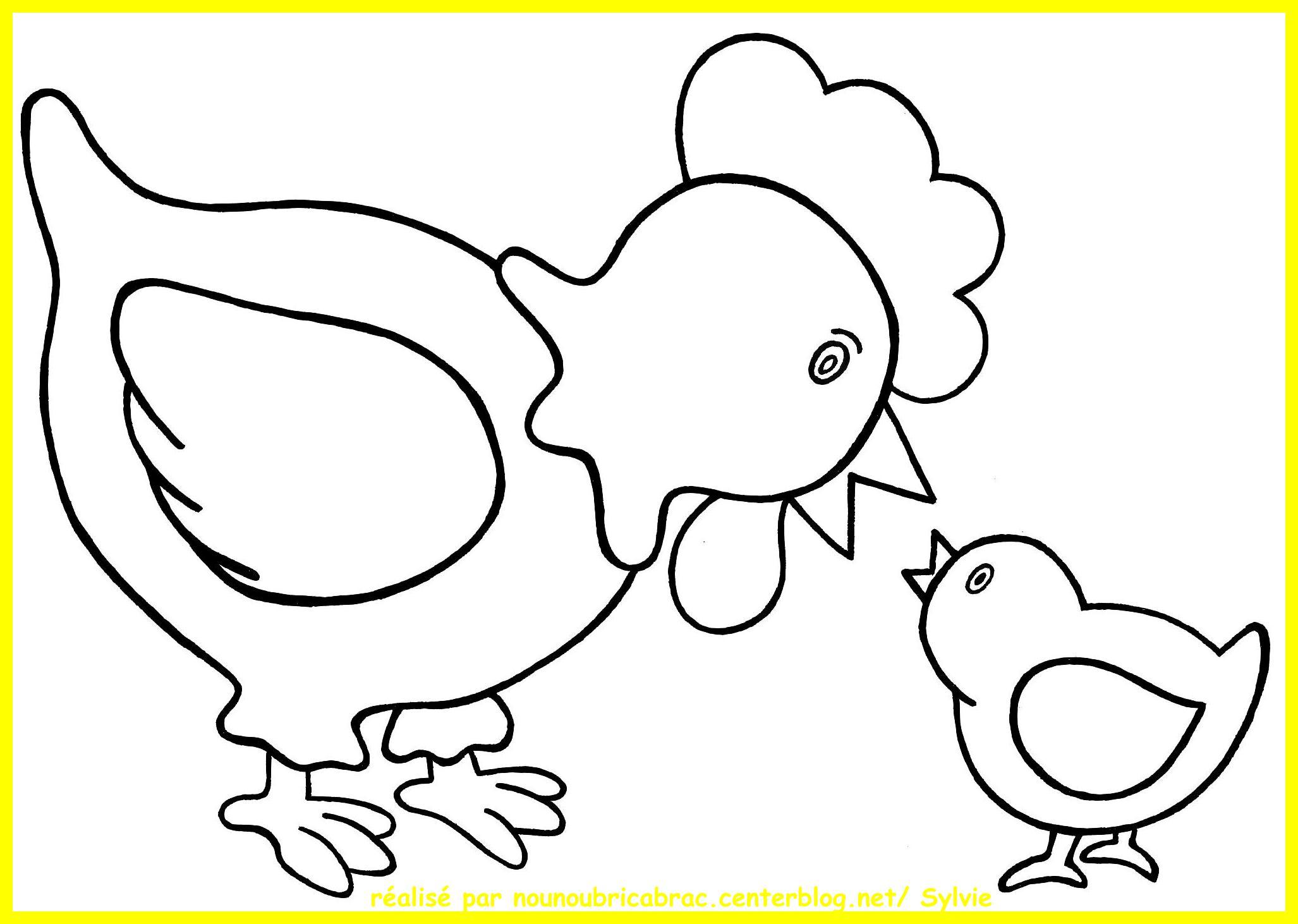 Meilleur De Coloriage Poule A Imprimer | Imprimer Et avec Poussin A Colorier