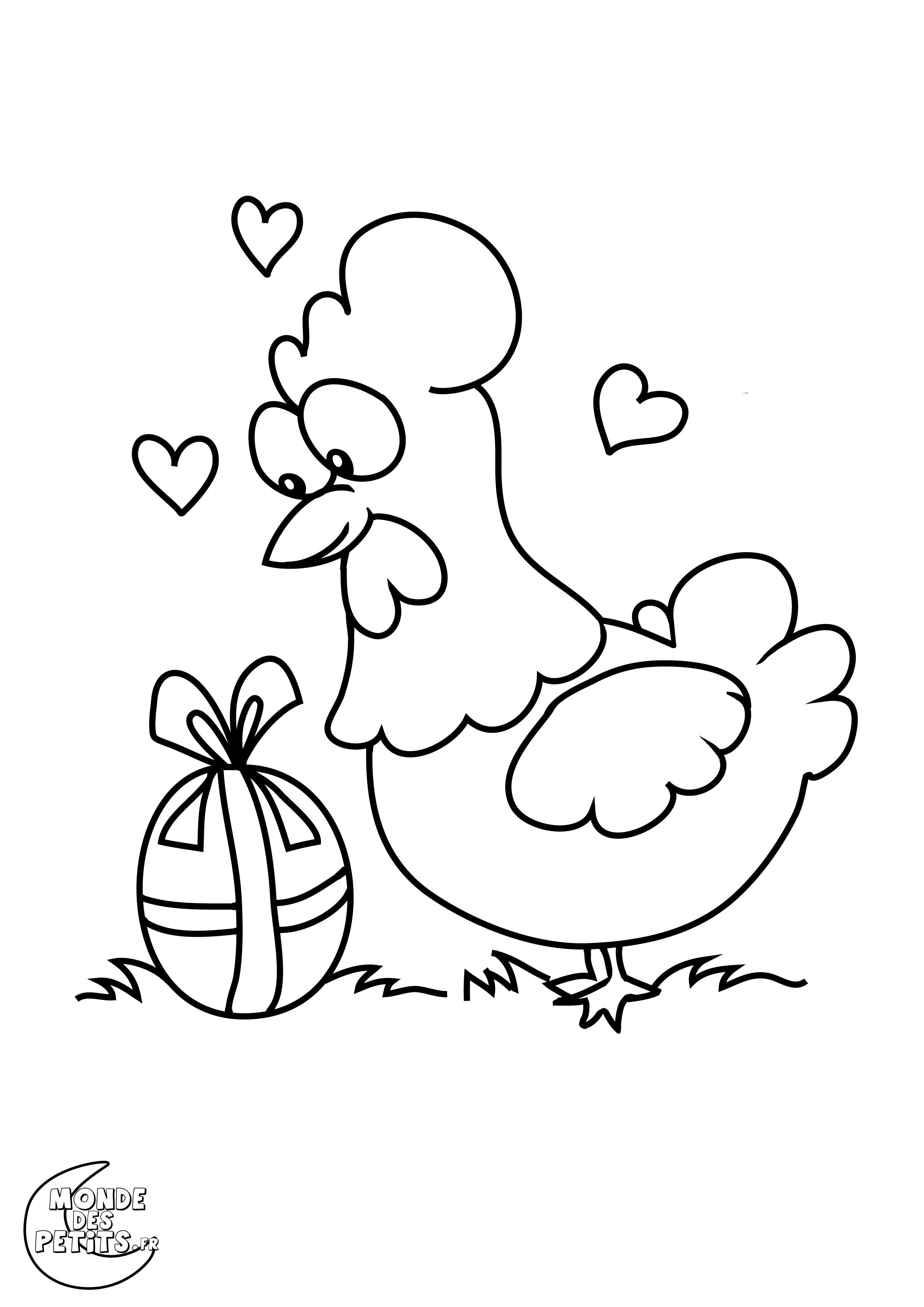 Meilleur De Coloriage Poule Et Poussin A Imprimer | Haut dedans Coloriage À Imprimer Joyeuses Pâques