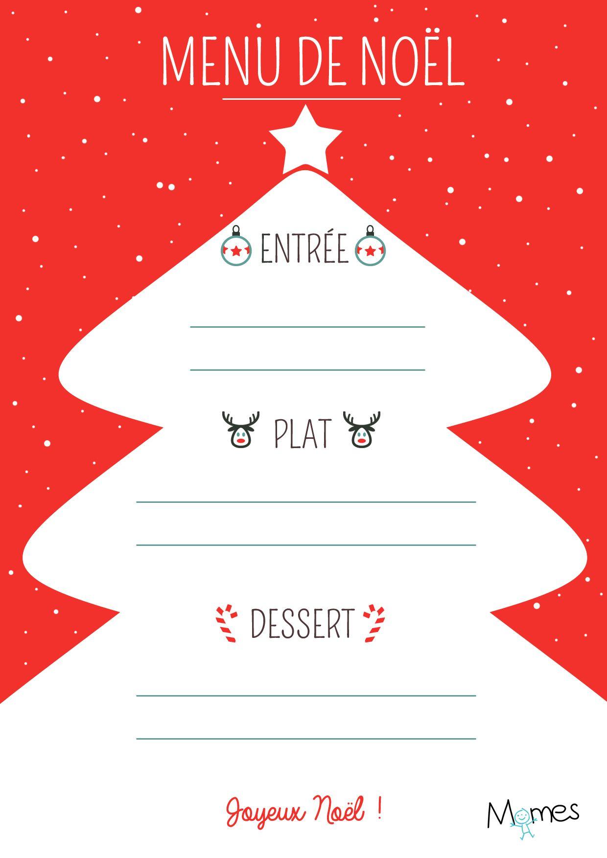 Menu De Noël À Imprimer : Sapin Rouge Et Blanc | Xmas encequiconcerne Décoration De Noel À Imprimer