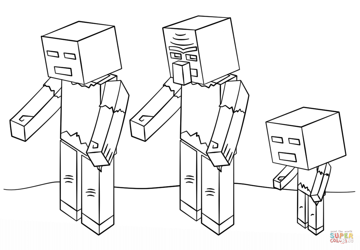 Minecraft Zombies Coloring Page | Free Printable Coloring intérieur Coloriage Minecraft