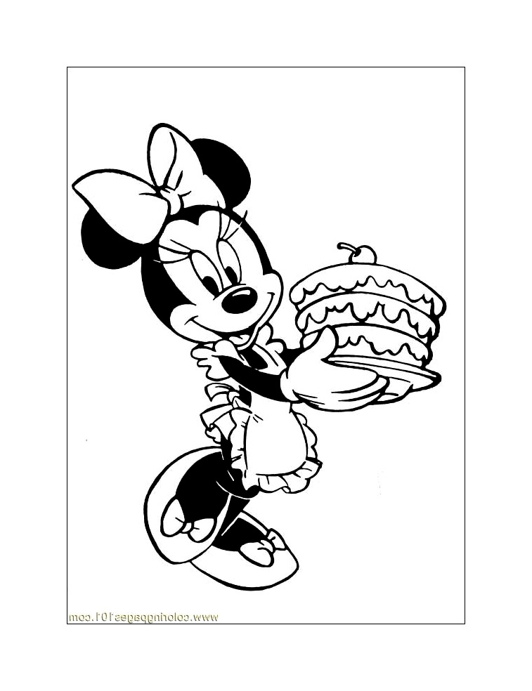 Minnie Ramène Un Gateau - Coloriage Minnie - Coloriages serapportantà Dessin A Imprimer Minnie