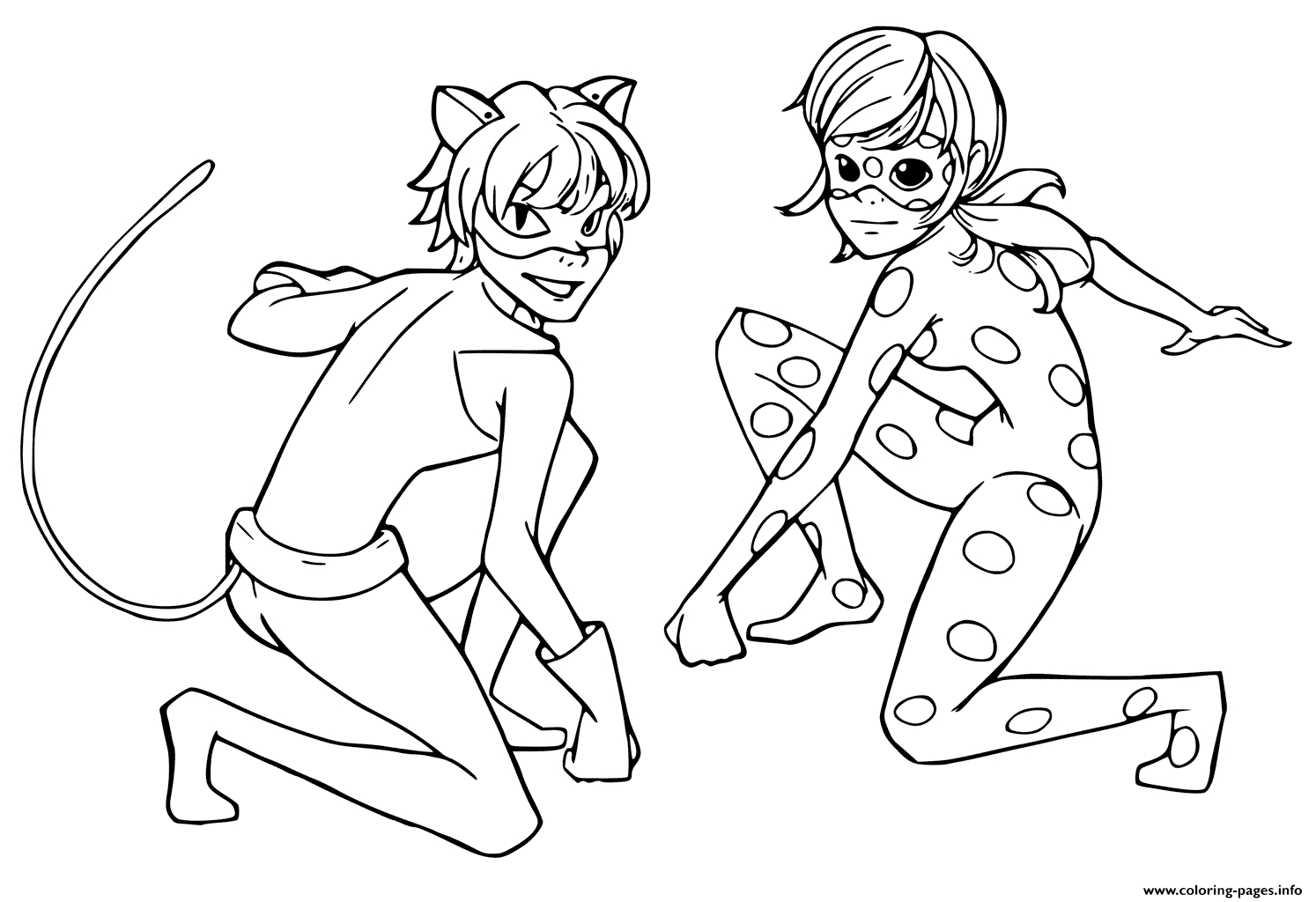Miraculous Tales Of Ladybug Black Cat Coloring Pages Printable tout Coloriage Miraculous