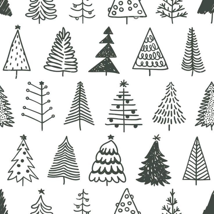 Modèle Sans Couture Avec Arbre De Noël Dessiné À La Main avec Dessin D Arbre En Hiver