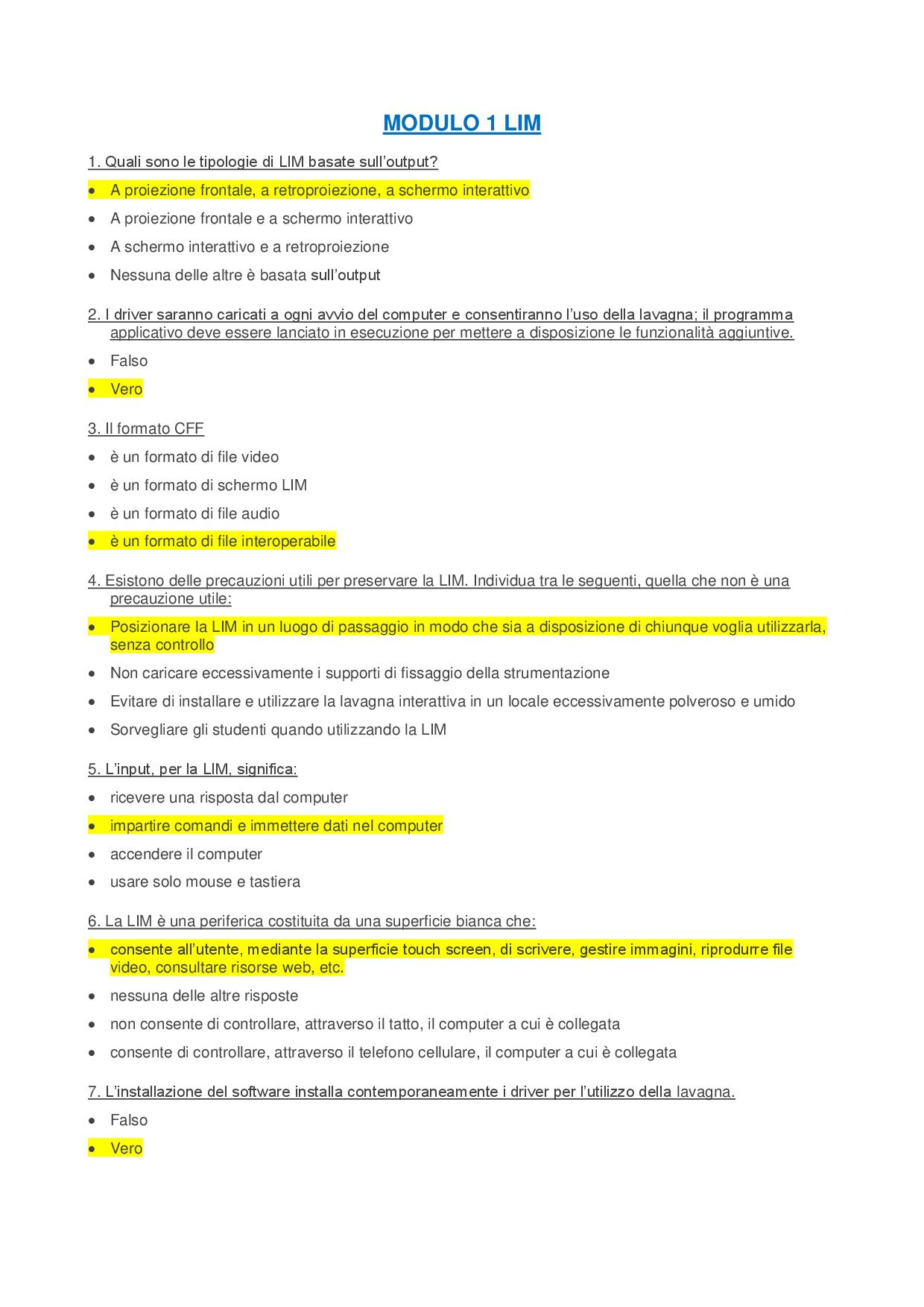 Modulo 1 Lim Eipass Soluzioni Esame - Docsity tout Docsity