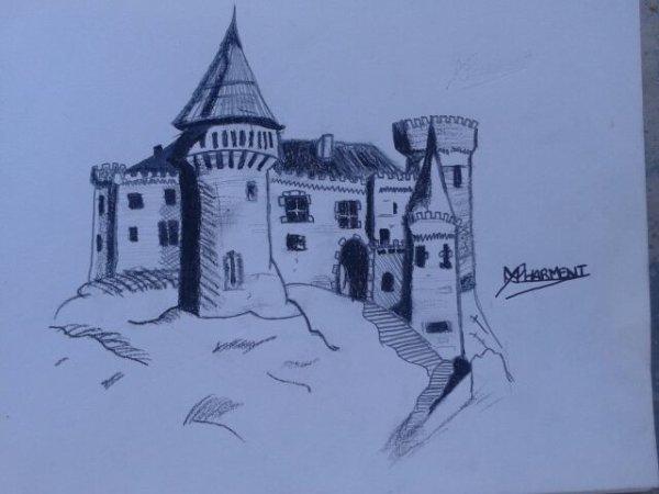 Mon Dernier Dessin Un Château Du Moyen-Age - Ma Passion Le concernant Dessin Chateau Moyen Age