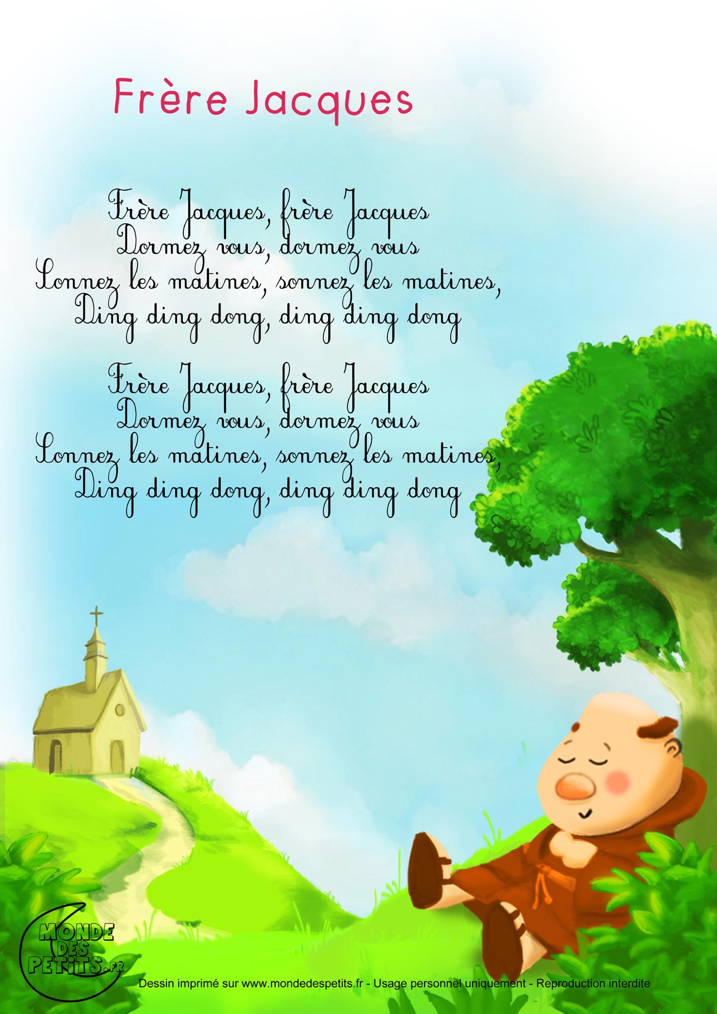 Monde Des Petits - Frère Jacques pour Comptine Enfant Parole