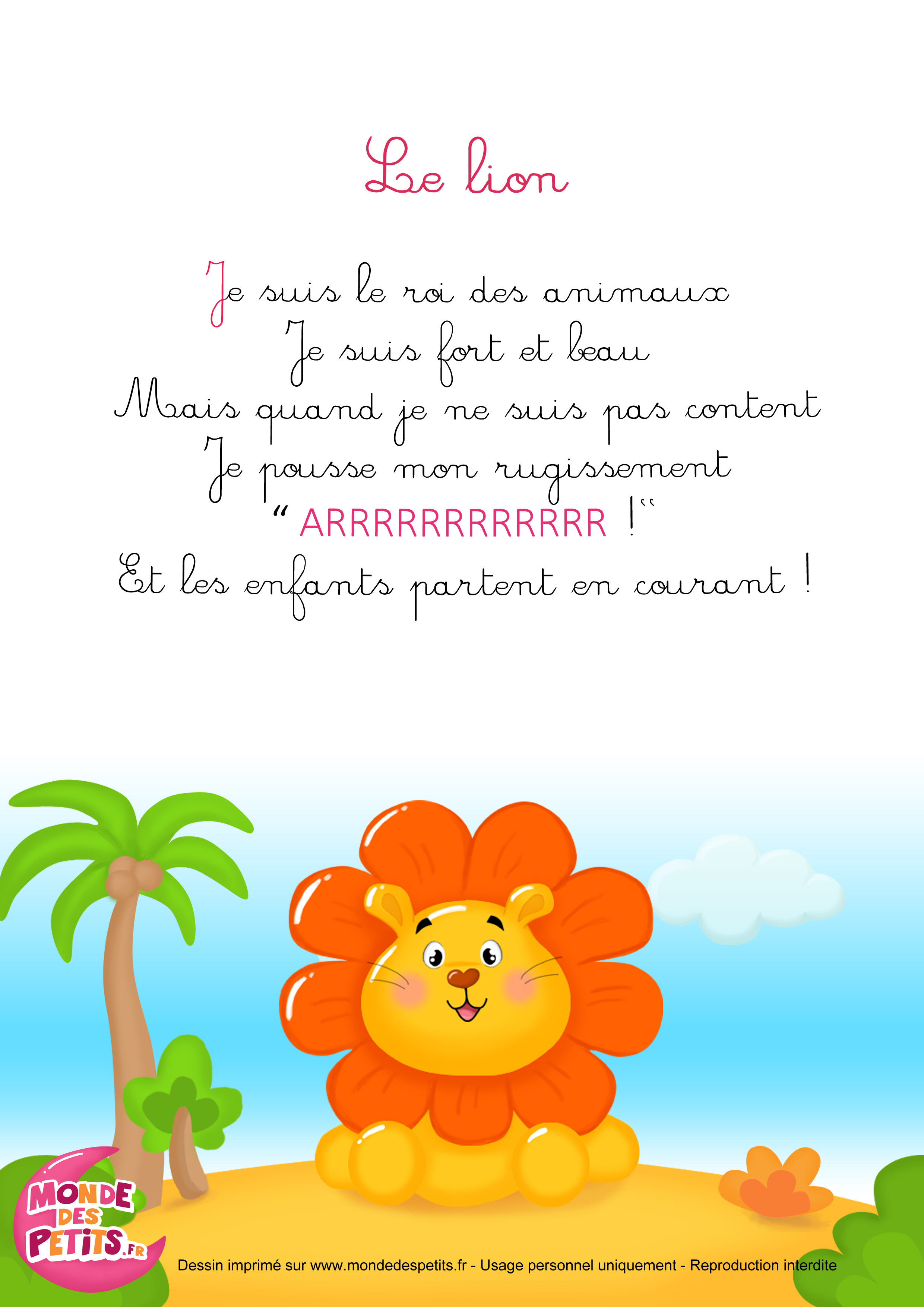 Monde Des Petits - La Comptinette Du Lion à Comptine Enfant Parole