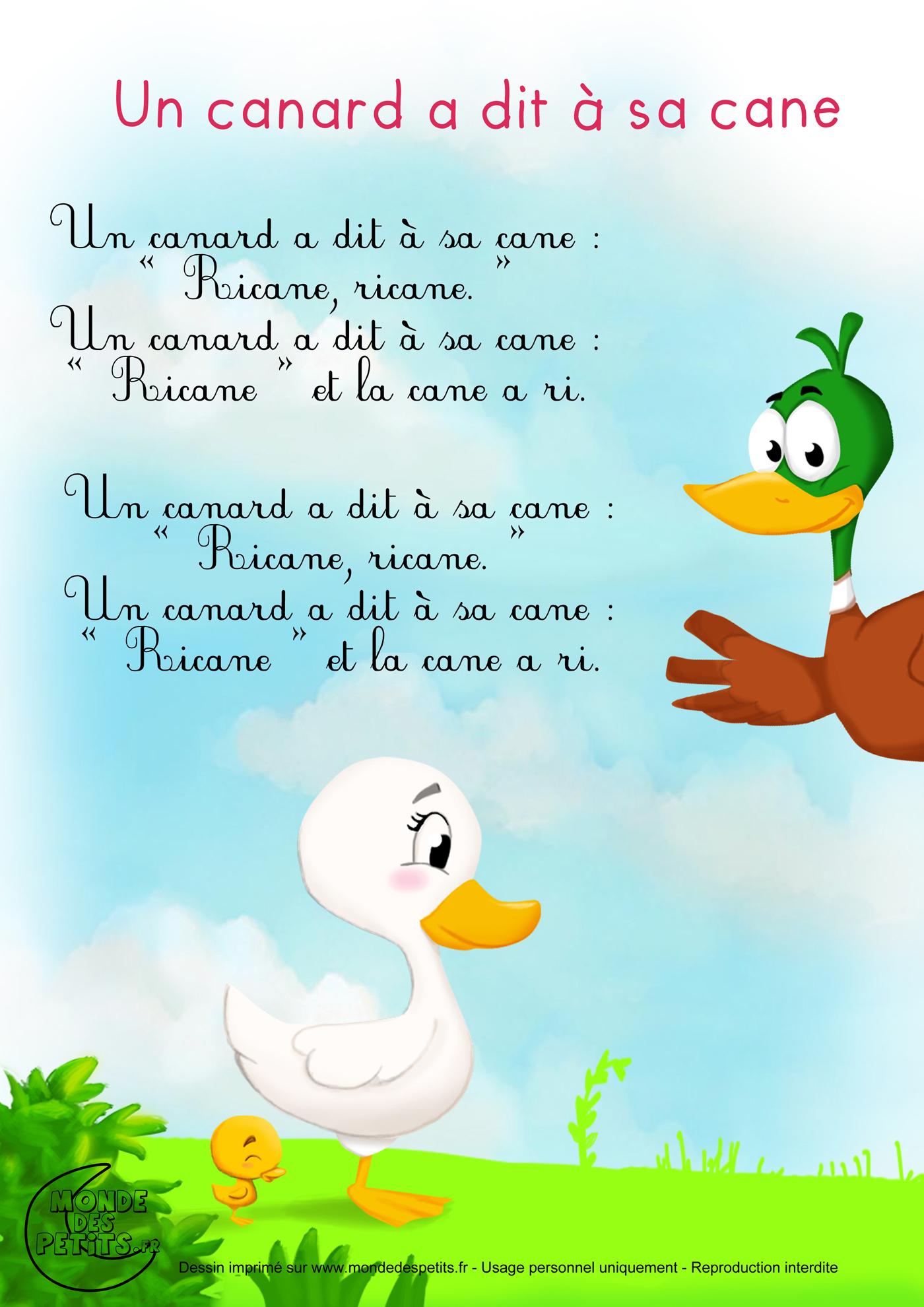 Monde Des Petits - Un Canard A Dit À Sa Cane tout Contine Mon Petit Lapin