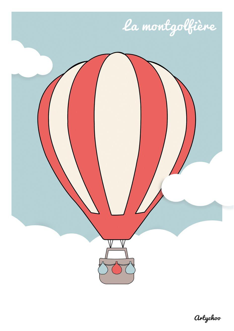 Montgolfière #Artychoo #Marjoriecohen #Tableauenfant # destiné Dessin De Montgolfière