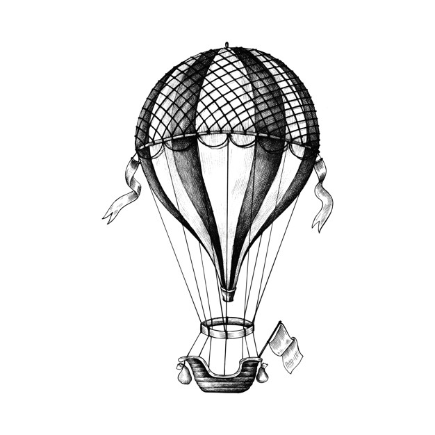 Montgolfière Dessinée À La Main | Télécharger Des Vecteurs concernant Dessin De Montgolfière