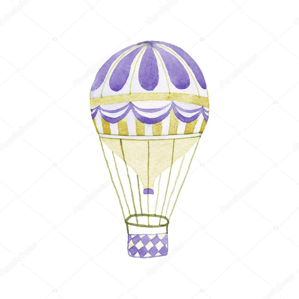 Montgolfière. Hand-Drawn Jet. Dessin Réel Aquarelle tout Dessin De Montgolfière