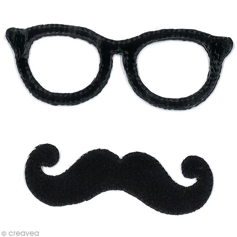 Motif Thermocollant Moustache - Lunettes Et Moustache Noir destiné Lunette Dessin