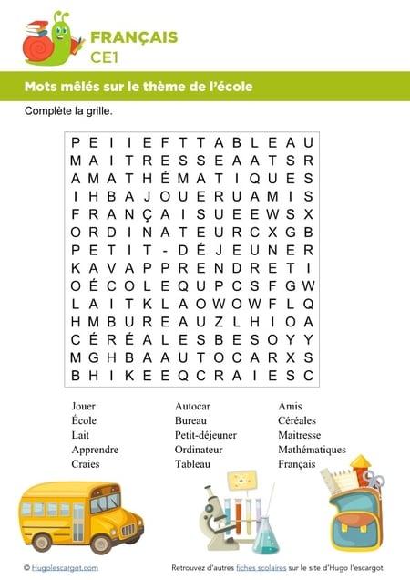 Mots Meles Vocabulaire intérieur Mots Meles A Imprimer