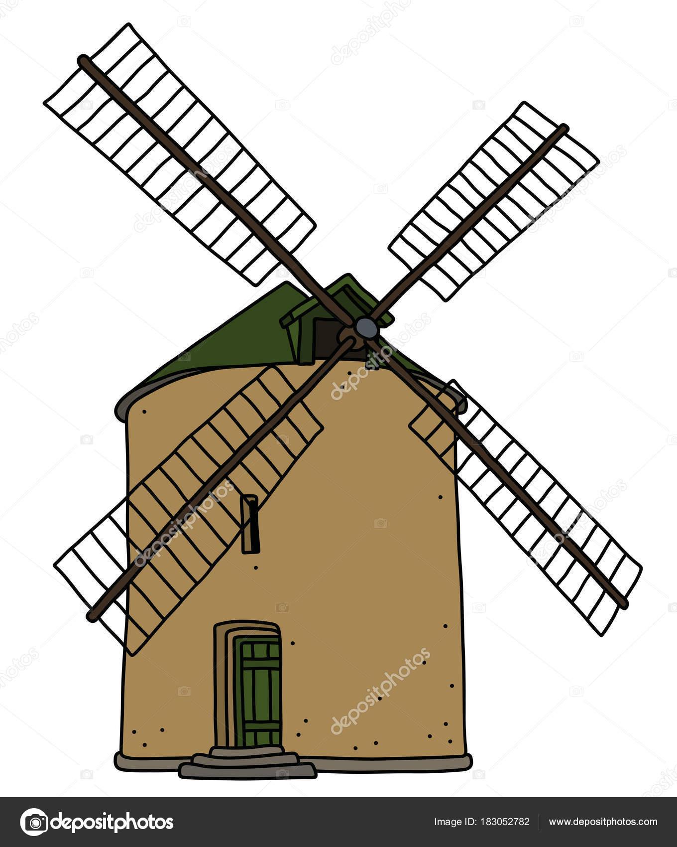 Moulin À Vent De Dessin Animé Image Libre De Droits pour Dessin Moulin À Vent