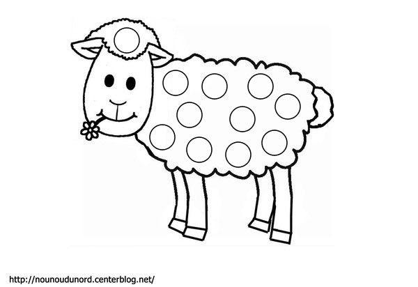 Mouton Coloriage Et Gommettes En Couleur | Animal Crafts avec Coloriage Mouton À Imprimer