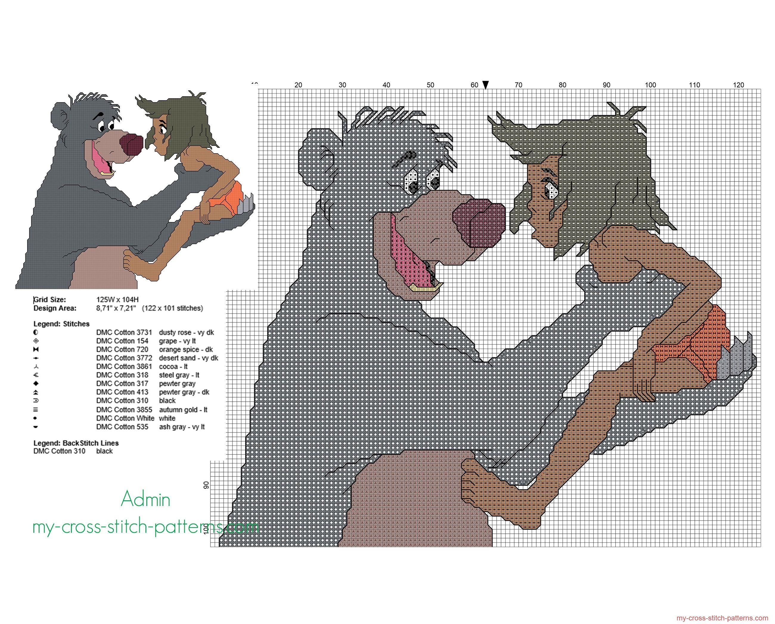 Mowgli Et Baloo Le Livre De La Jungle Grille Point De encequiconcerne Pixel Art Livre De Coloriage Numéroté