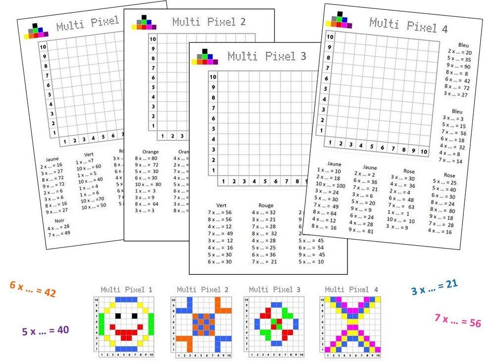 Multi Pixels 1 | Jeu Multiplication, Jeux Mathématiques concernant Exercice Table De Multiplication À Imprimer