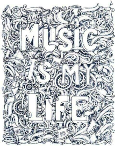 Music Is My Life Coloring Page | Adult Coloring Pages encequiconcerne La Fete De La Musique Coloring Book