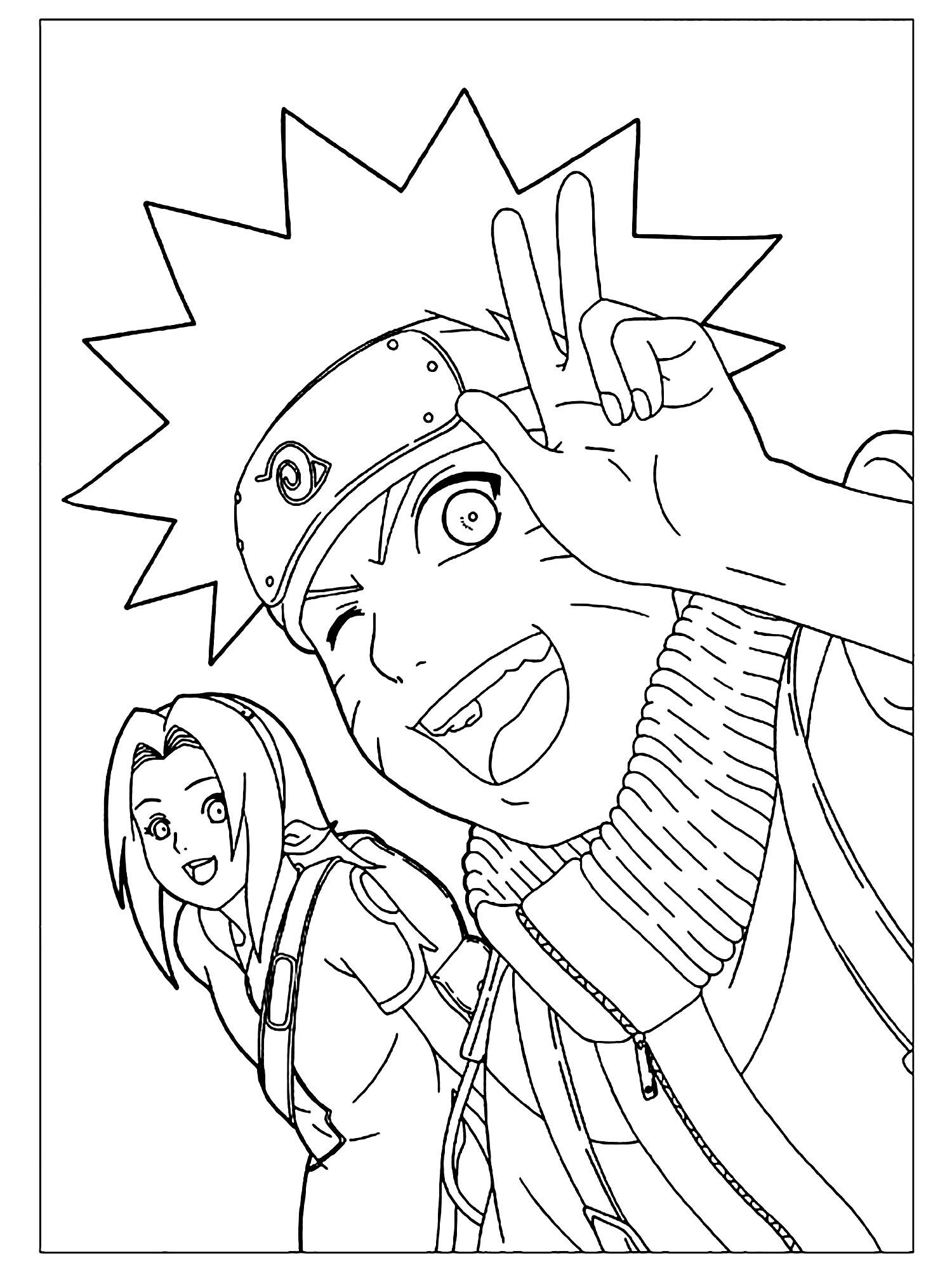 Naruto Et Sakura - Coloriage Naruto - Coloriages Pour Enfants concernant Dessin Naruto