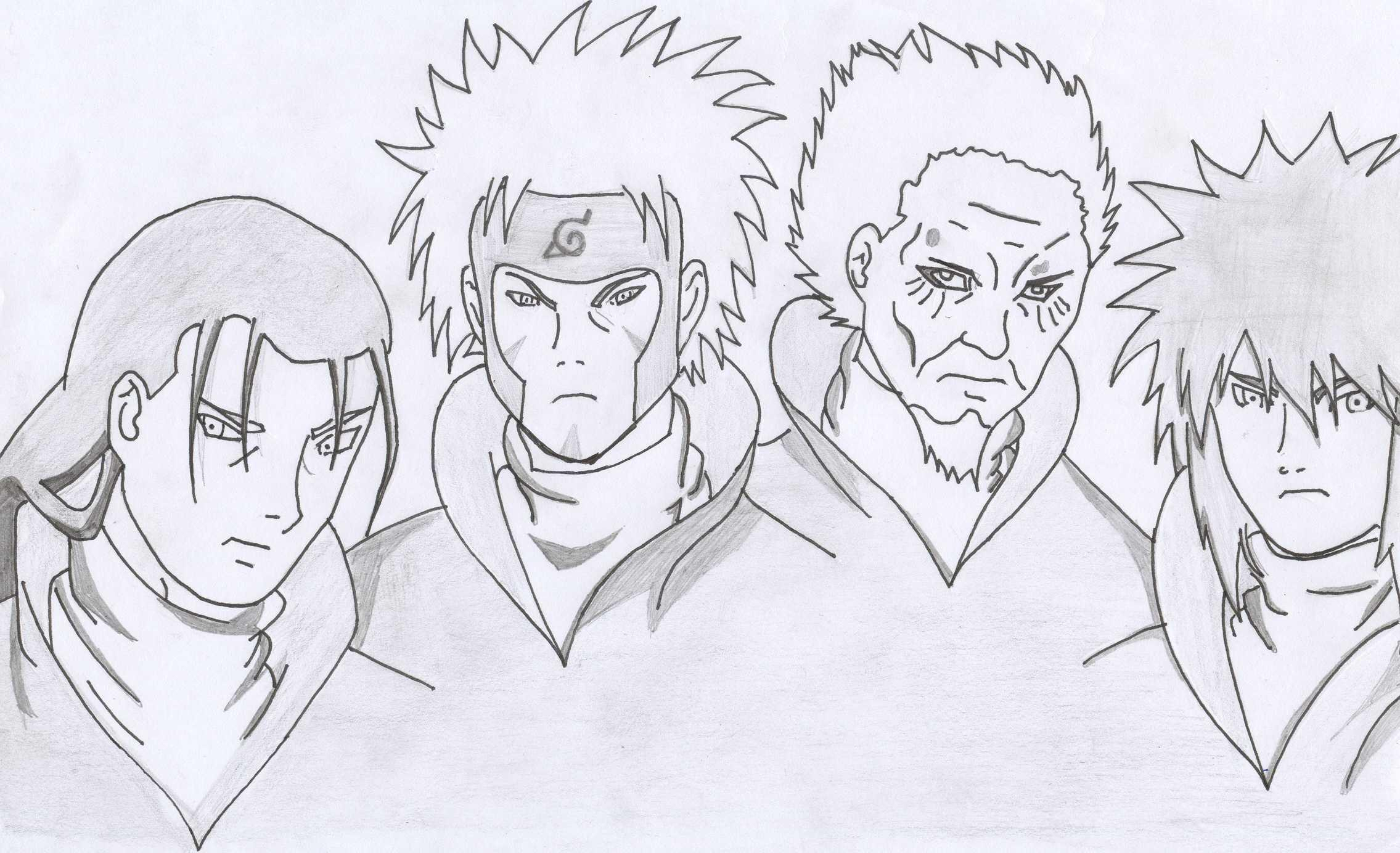 Naruto - The Way Of Naruto - Les 4 Hokage De Gokuxnaruto dedans Dessin De Na Ruto A In Primer