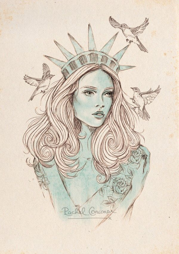 New York Poster - Fashion Illustration - Statue Of Liberty concernant Statue De La Liberté Dessin