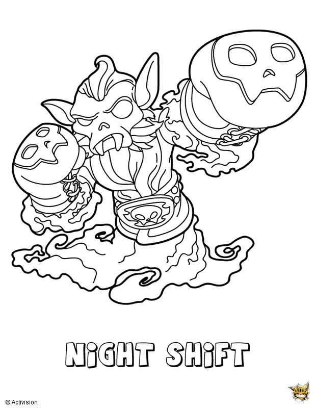 Night Shift Est Un Coloriage De Skylanders à Coloriage Skylanders Trap Team A Imprimer Gratuit