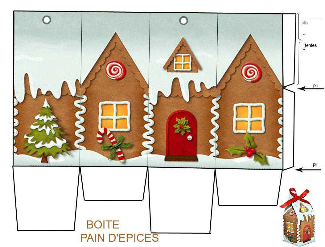 Noel 5 Décos Et Recettes - 1 Et 2 Et 3 Doudous * Patrons dedans Patron+Maison+Papier+A+Imprimer