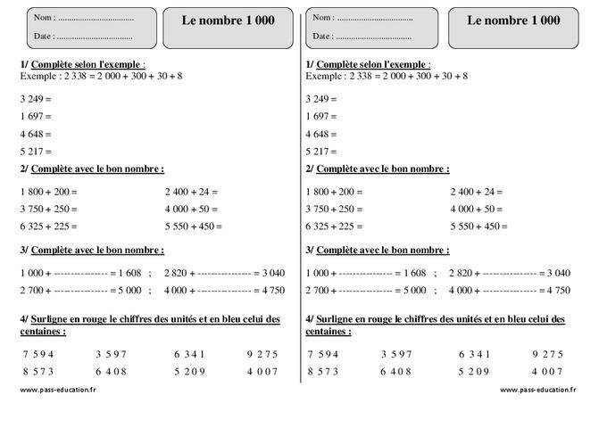Nombre 1 000 – Ce2 – Exercices À Imprimer - Pass Education avec Nombre Pair Et Impair Ce2 A Colorier