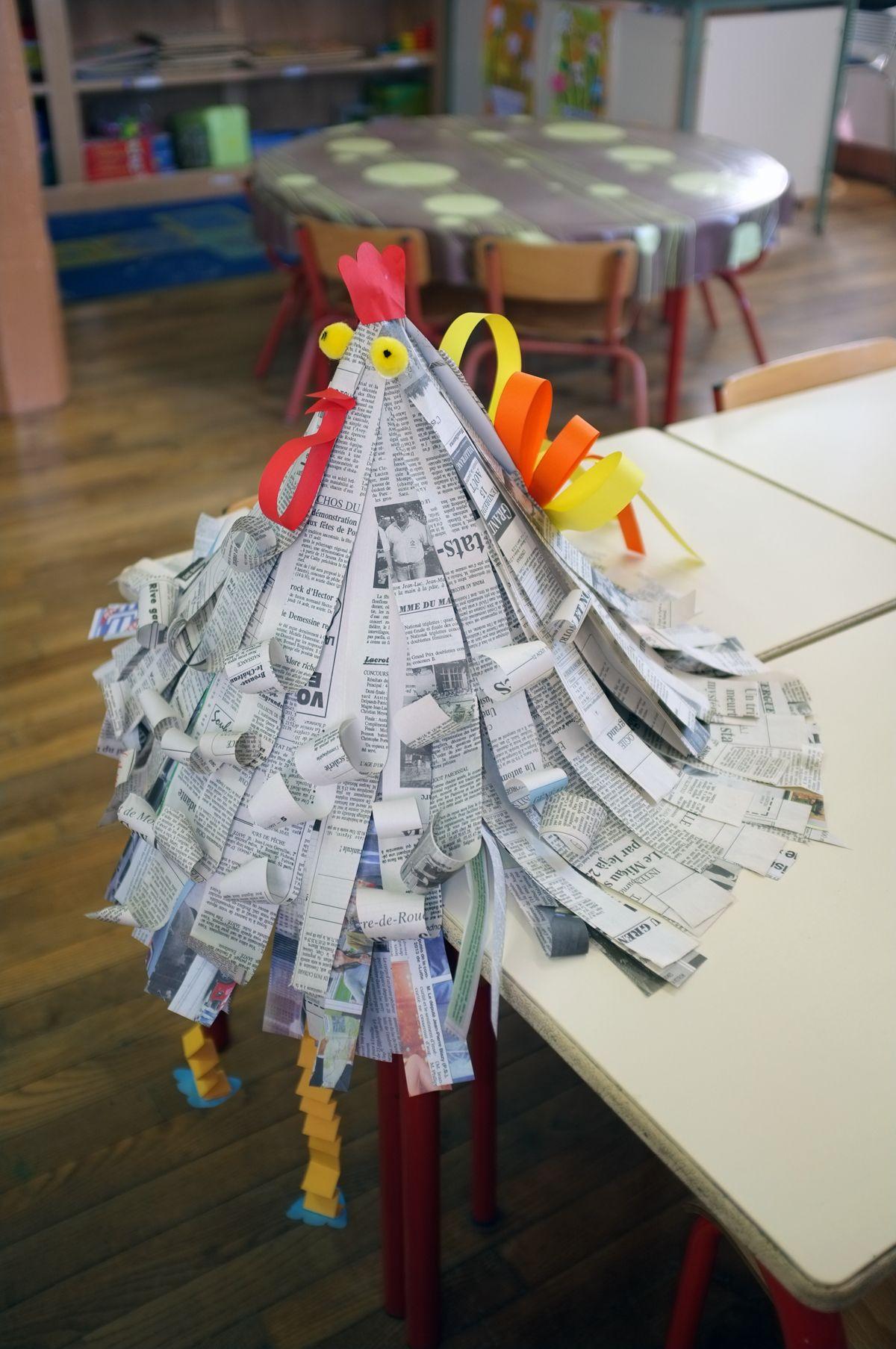 Notre Coup De Cœur : Une Poule Fabriquée En Papier Journal concernant Faire Du Bricolage En Papier