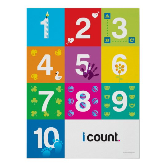 "Numbers Poster For Kindergarten Classes | Zazzle encequiconcerne Cache: .Com"" ""Learn-Numbers-In-English"""""