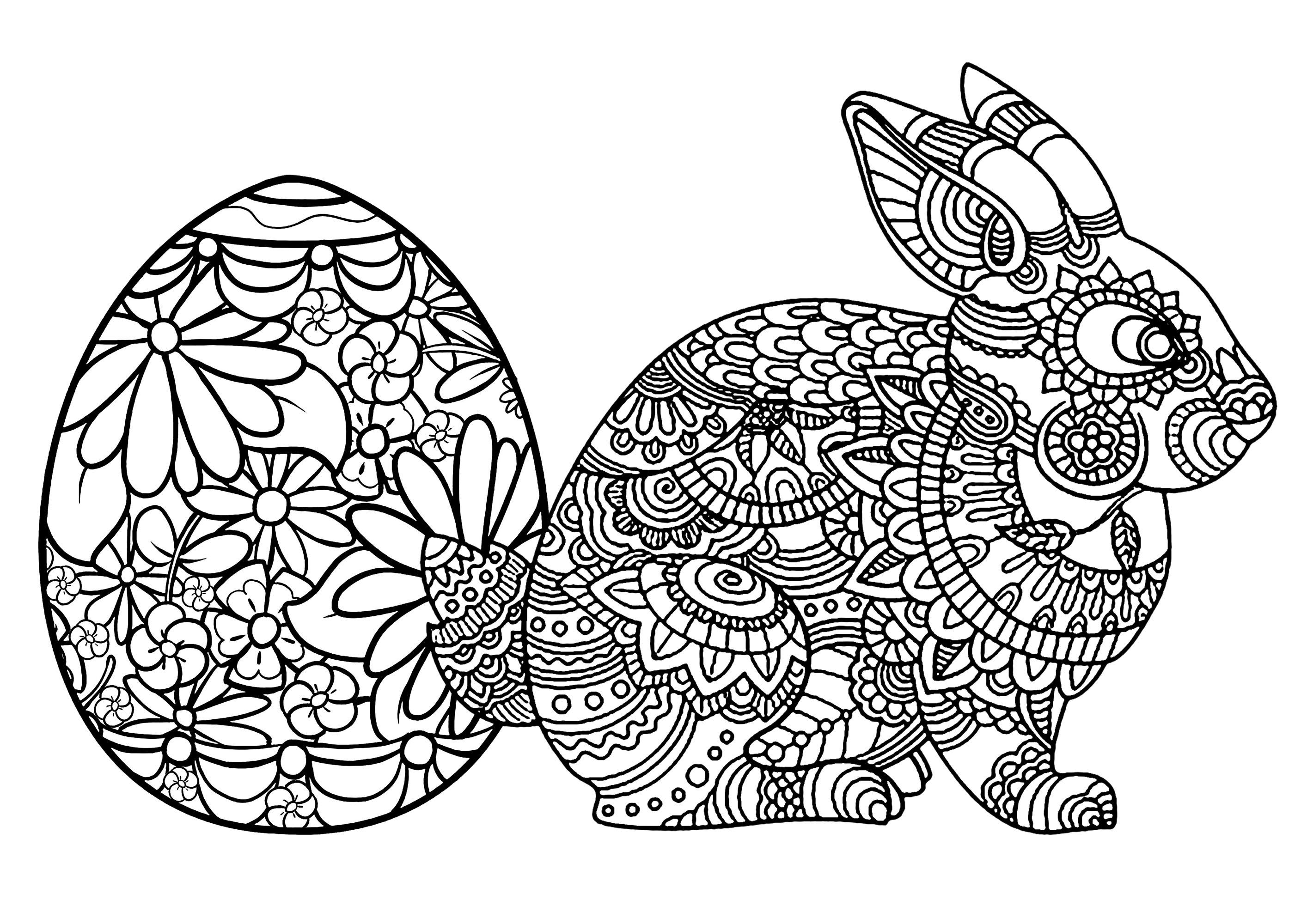 Oeuf Et Lapin De Paques - Pâques - Coloriages Difficiles à Oeufs De Paques Coloriage A Imprimer