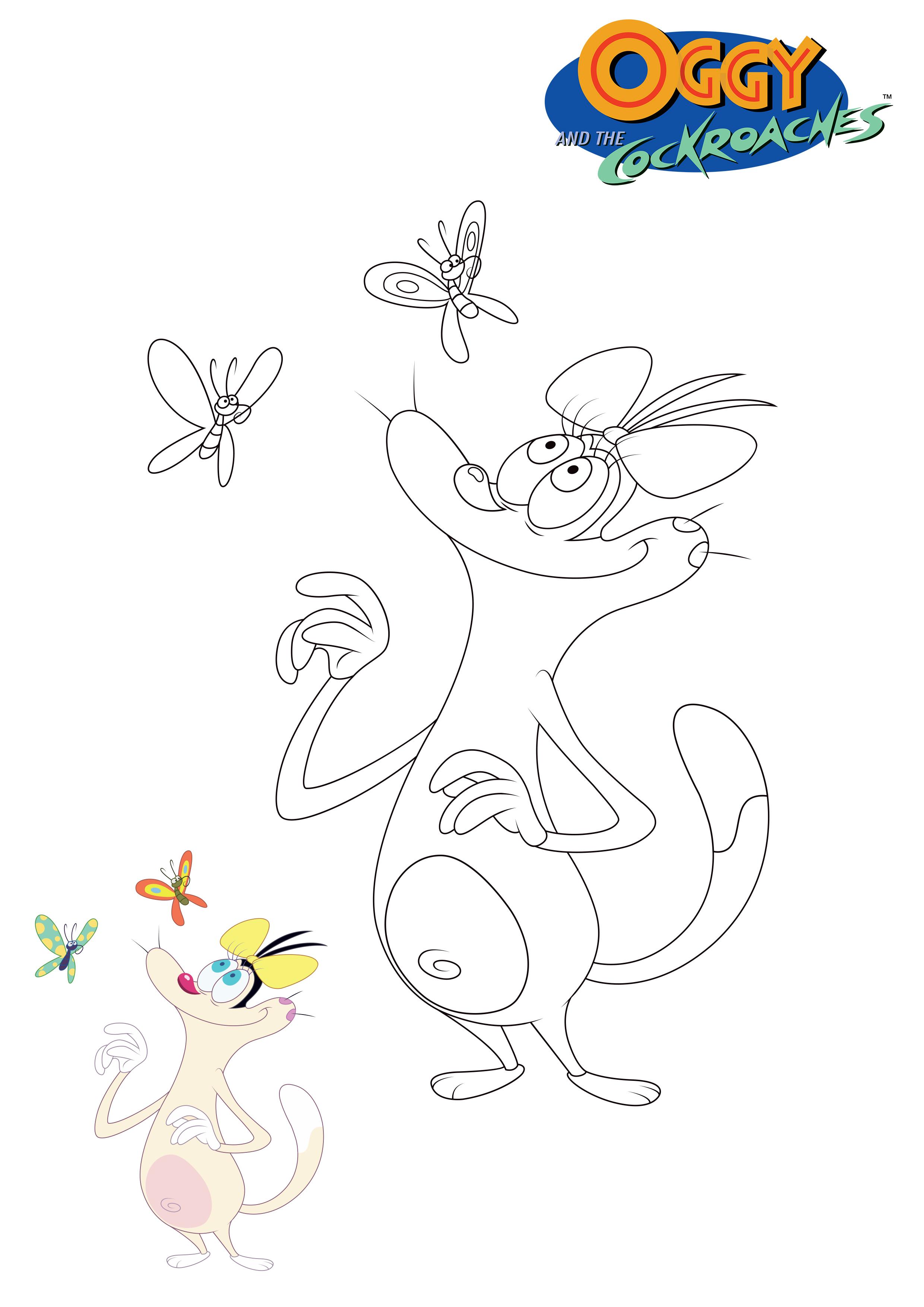 Oggy Et Les Cafards avec Coloriages Oggy Et Les Cafards A Imprimer