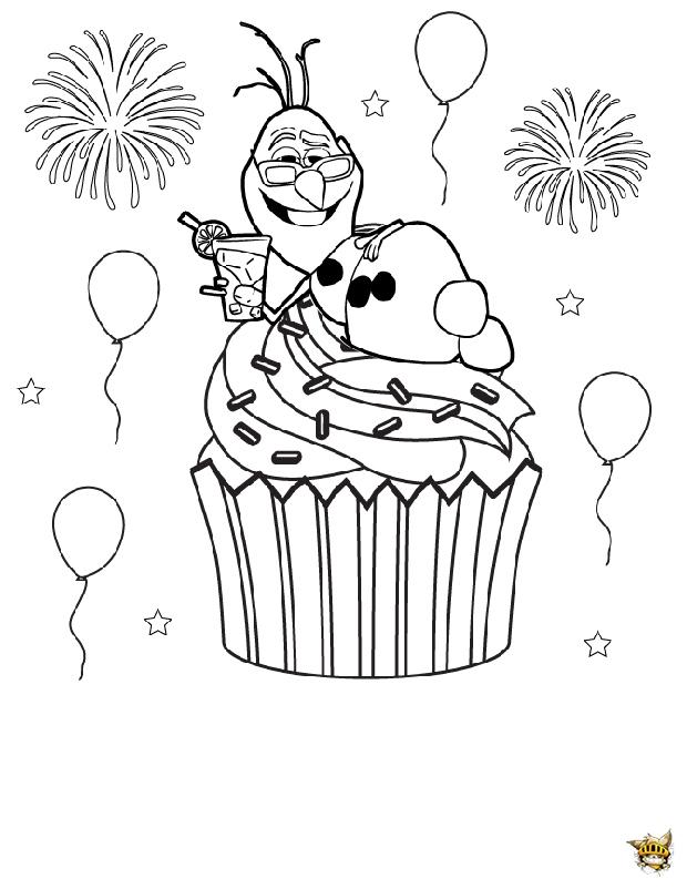 Olaf Cupcake Est Un Coloriage De Cupcake destiné Coloriage Cupcake A Imprimer