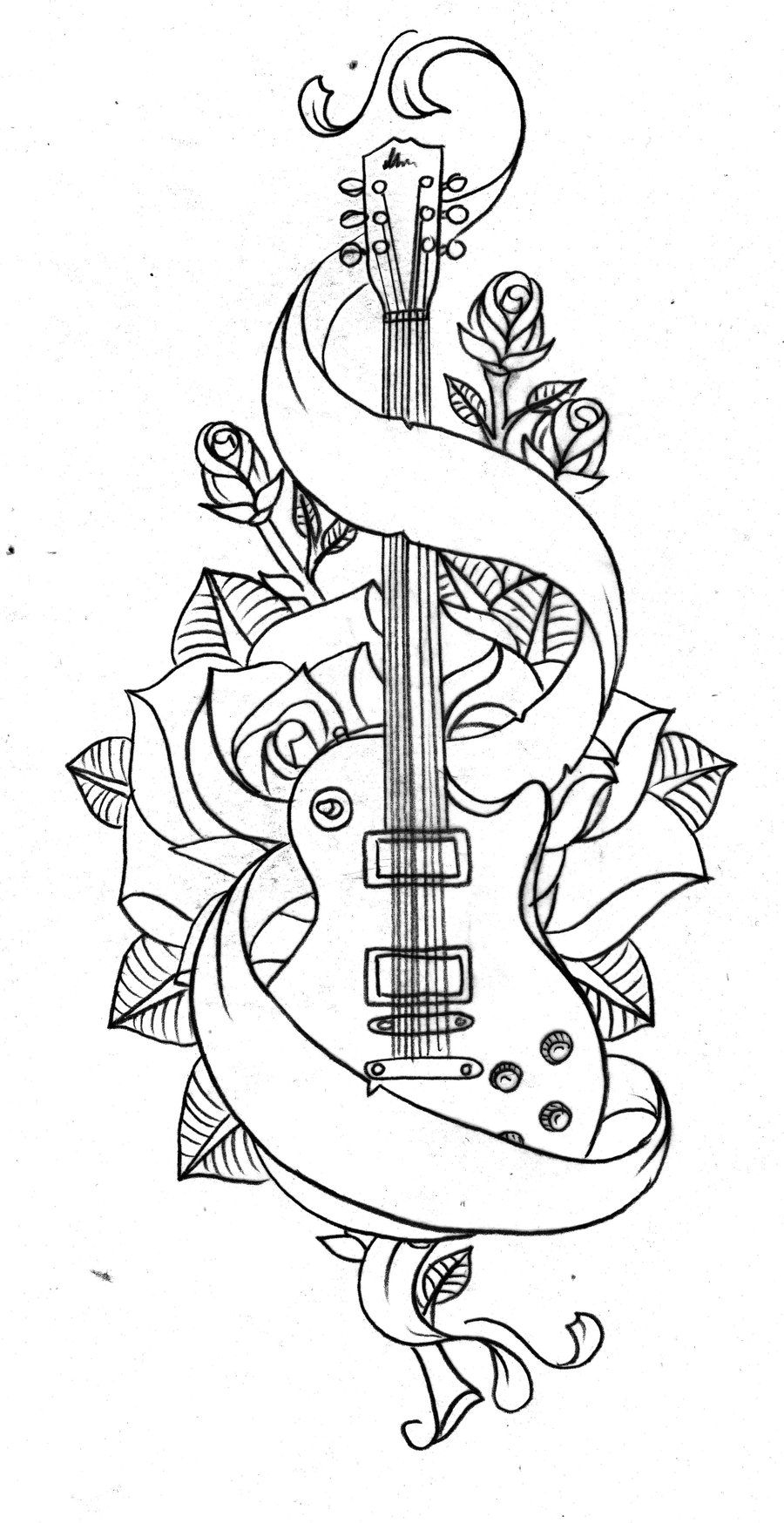 Old School Guitar By Nevermore Ink Designs Interfaces dedans Coloriage Guitare