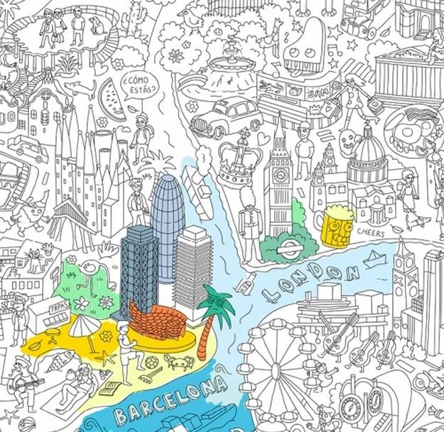 Omy Design - Poster Géant À Colorier - Villes Du Monde tout Omy Coloriage Geant