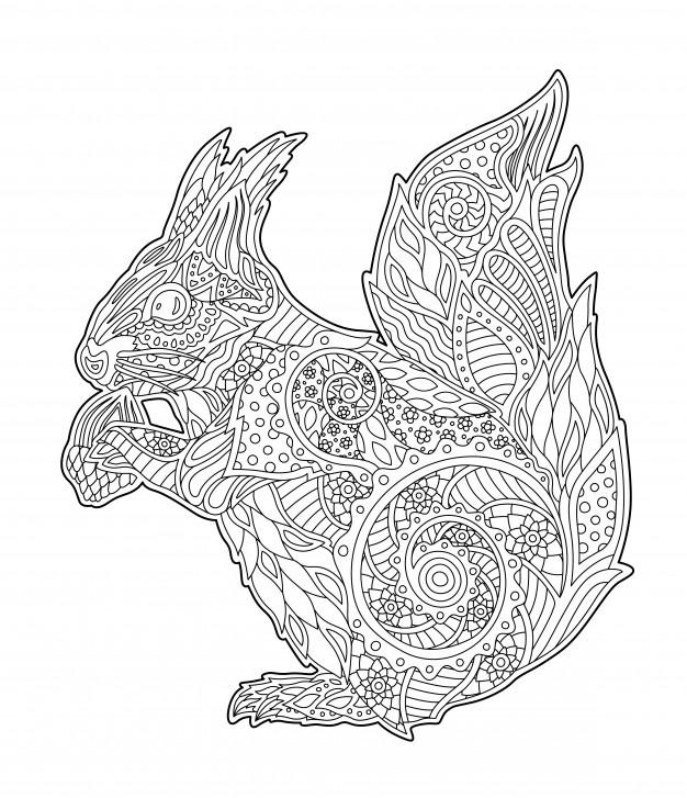 Page De Livre De Coloriage Adulte Avec Bel Écureuil concernant Coloriage Écureuil À Imprimer