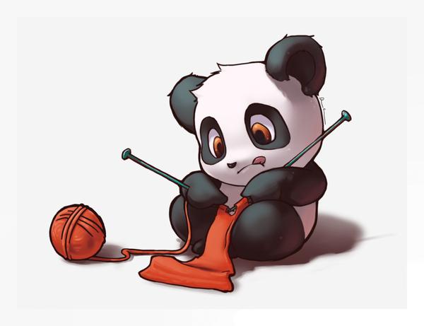 Panda Manga Tricotant. Trop Mignon!   Panda Dessin à Dessin D Animaux Trop Mignon