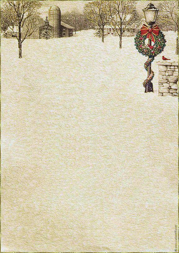 Papier À Lettre Gratuit À Imprimer Noël - Scène Hiver intérieur Papier A Lettre Noel
