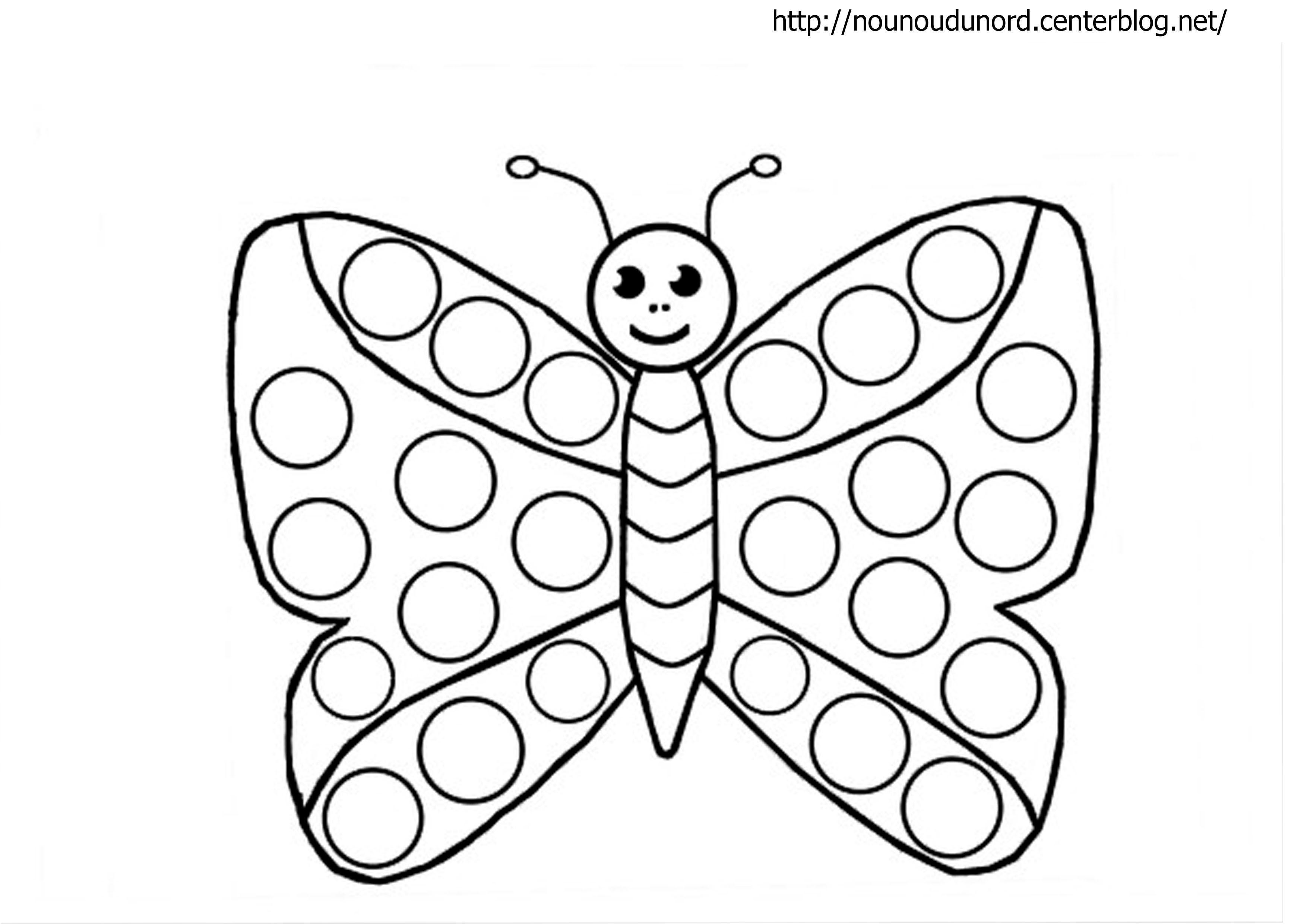 Papillon À Gommettes Coloriage Et Couleur avec Dessin Petit Papillon