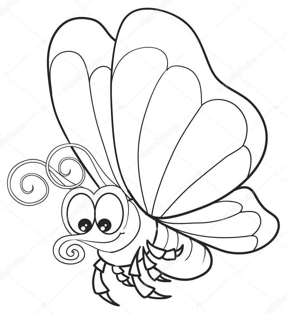 Papillon Dessin Animé Drôle — Image Vectorielle #68543231 dedans Dessin Papillon À Découper
