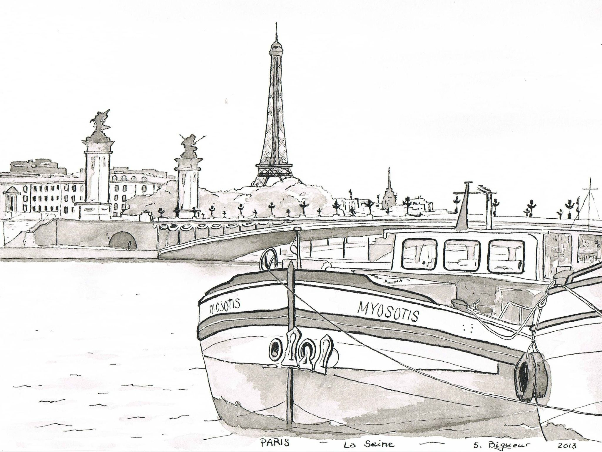 Paris La Seine - Pont Alexandre Iii | Coloriage Ville dedans Tour Eiffel À Imprimer