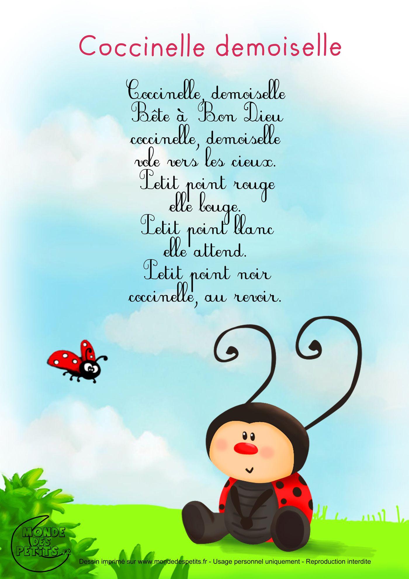 Paroles_Coccinelle, Demoiselle | Chansons Pour Enfants avec Comtine Bebe
