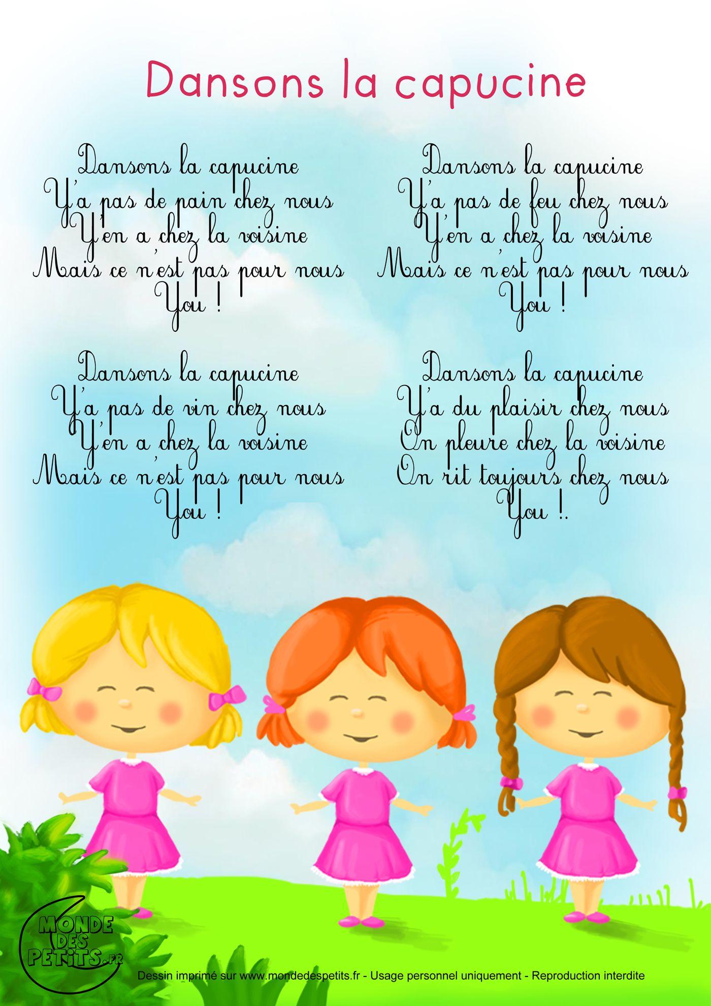Paroles_Dansons La Capucine | Comptines, Chanson Enfantine destiné Les Chanson De Bebe