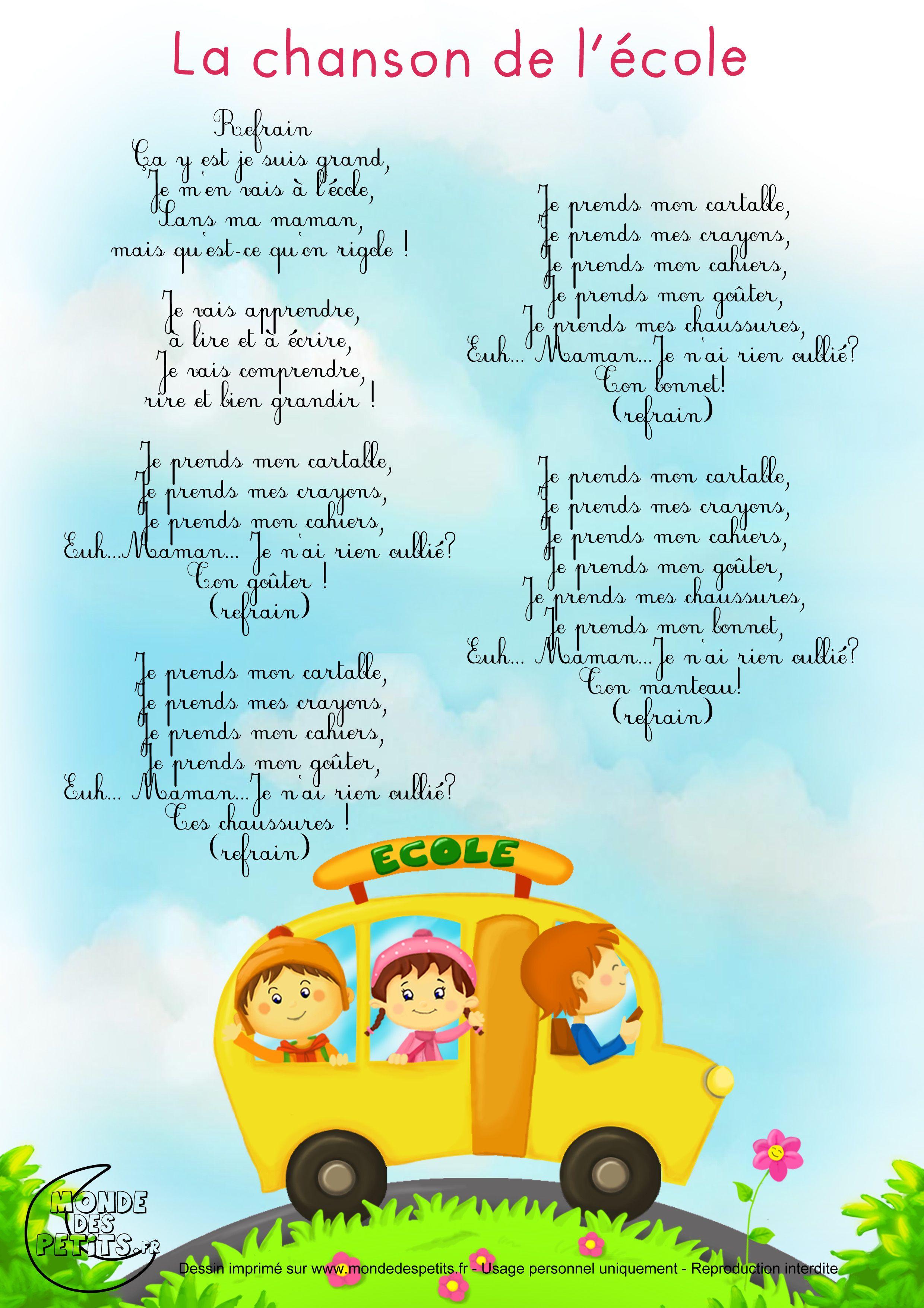 Paroles_La Chanson De L'École | Comptines, Comptines dedans Les Chansons Pour Les Petit Gratuit