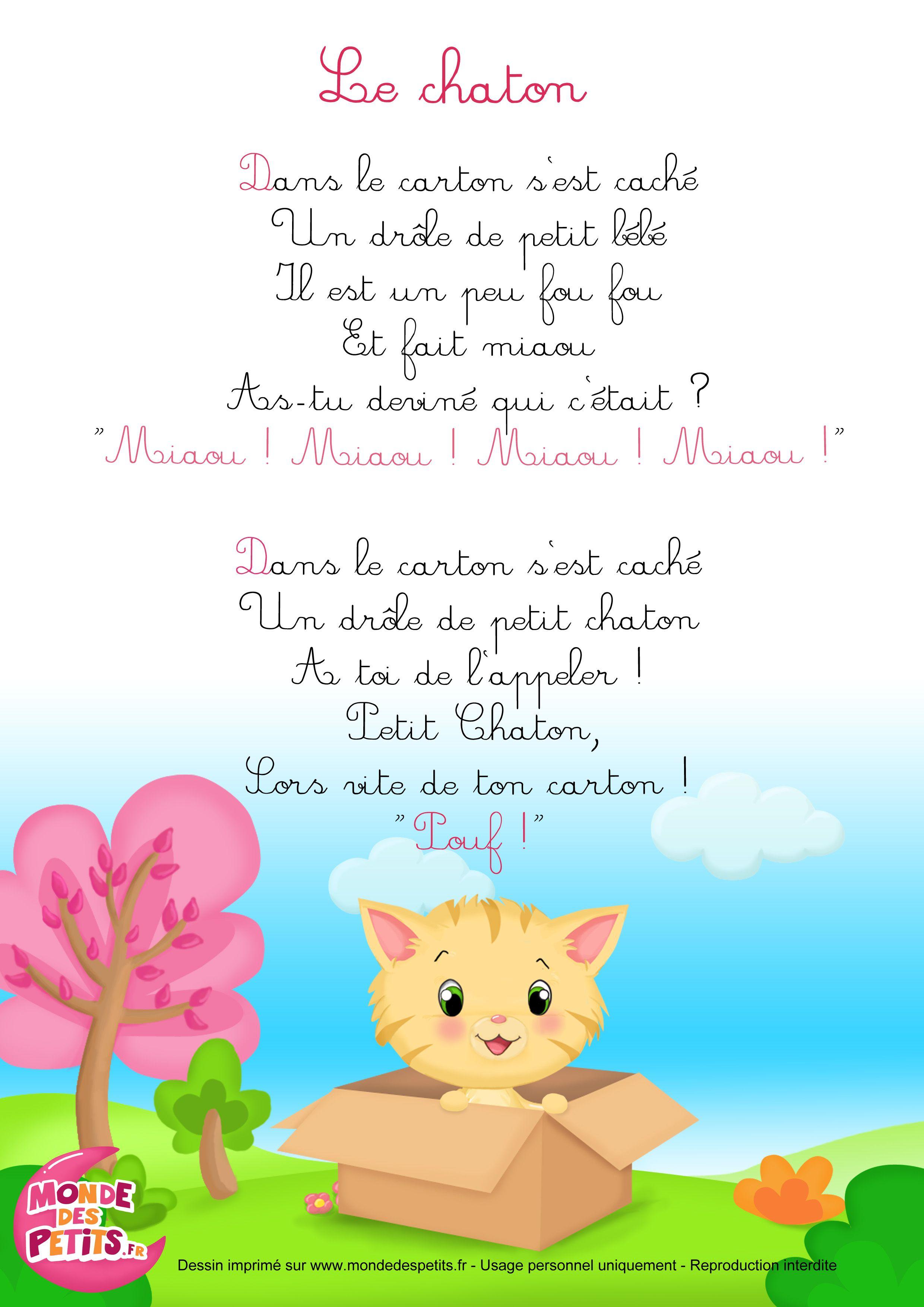 Paroles_La Comptinette Du Chaton - Comptines À Gestes encequiconcerne Contine Pour Les Petit