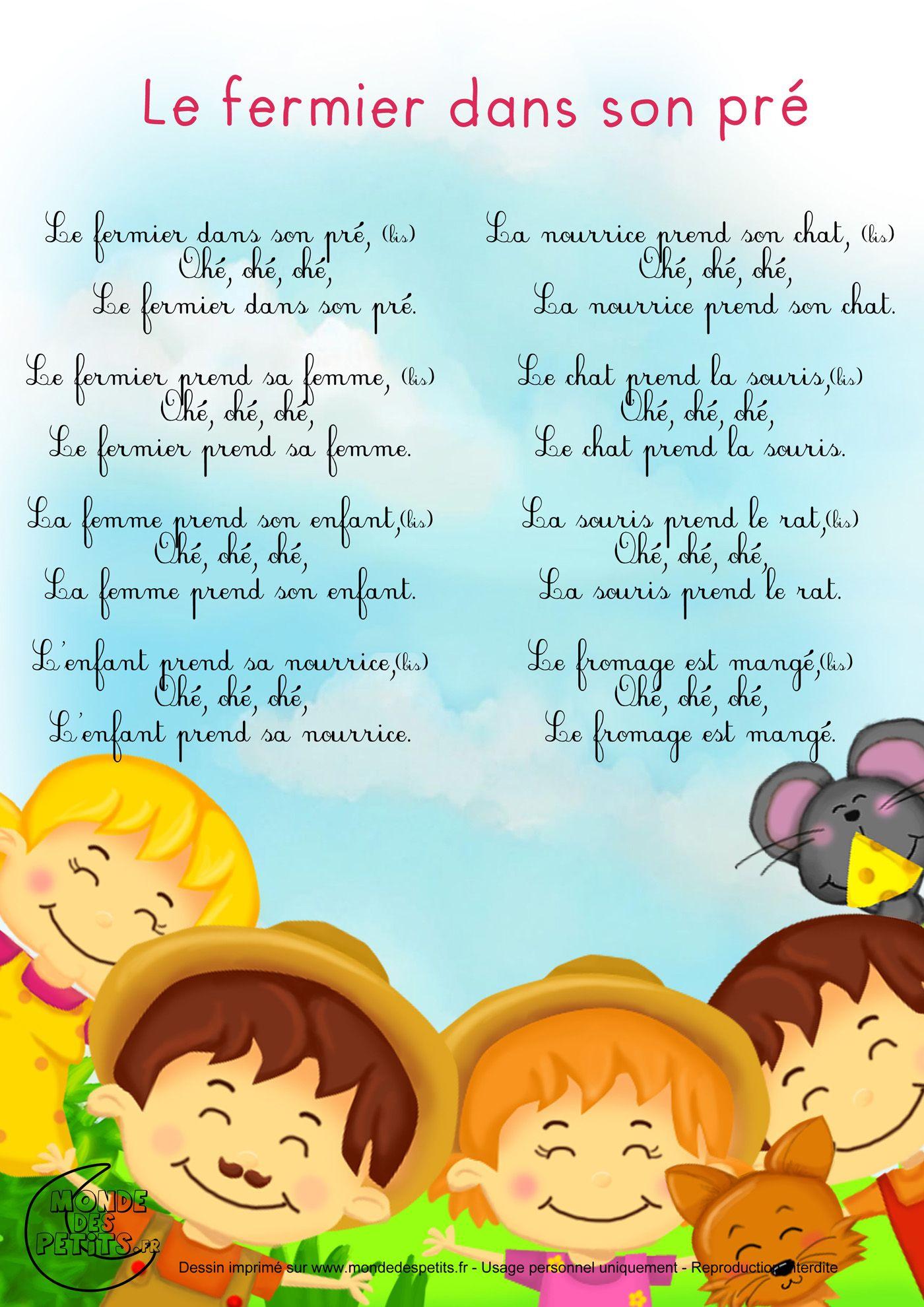 Paroles_Le Fermier Dans Son Pré | Comptines, Chansons destiné Contines Enfant