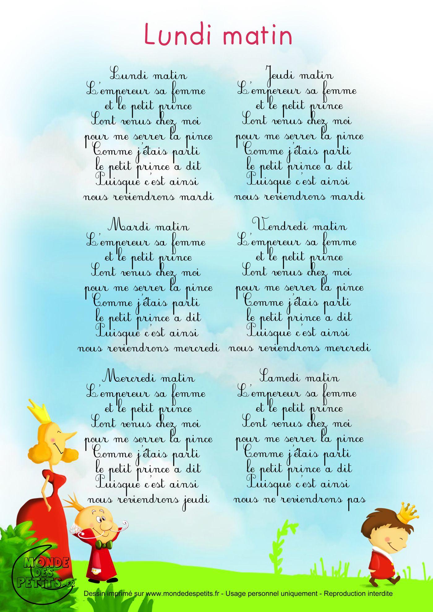 Paroles_Lundi Matin, L'Empereur, Sa Femme Et Le Petit pour Comptine Enfant Parole