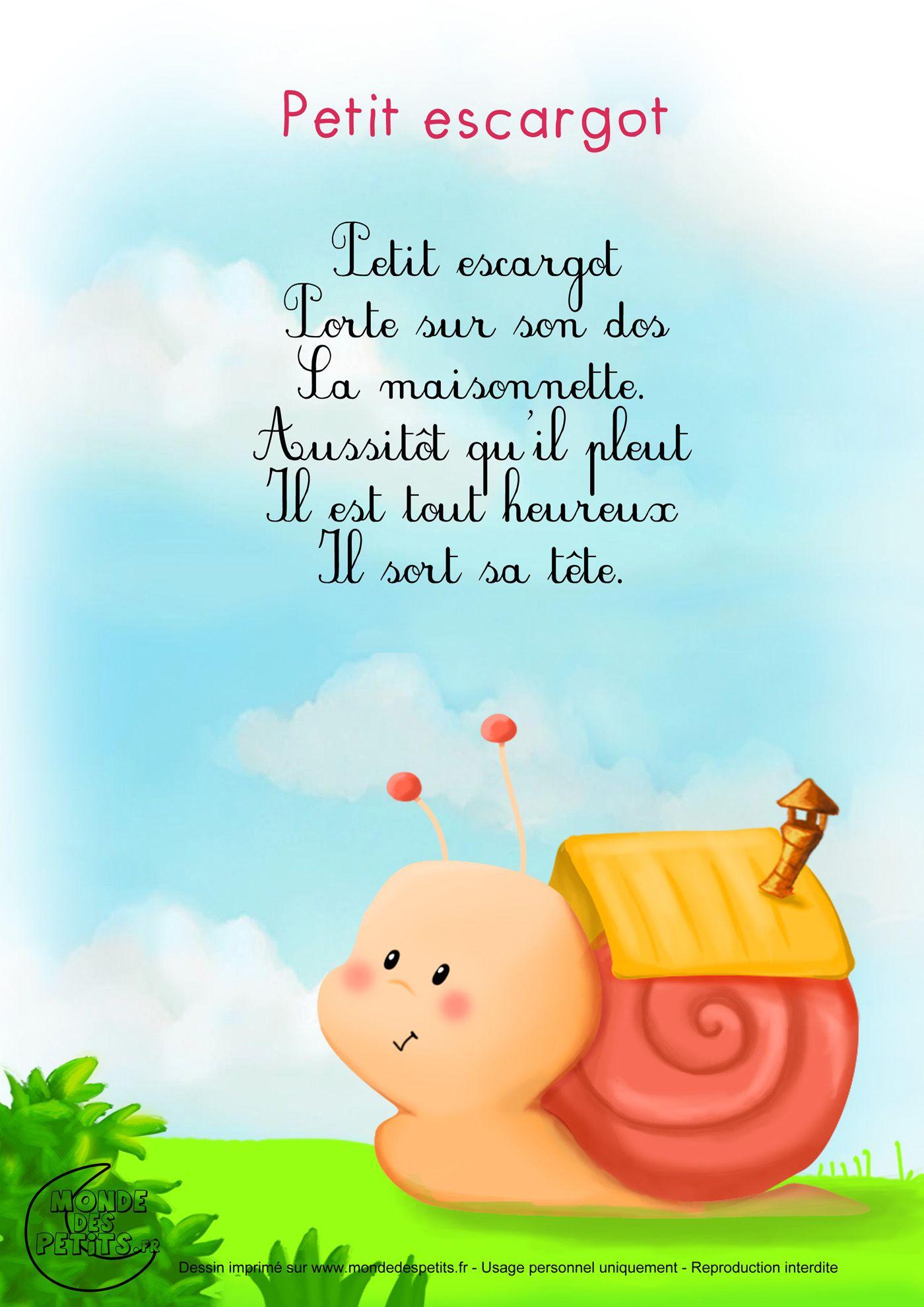 Paroles_Petit Escargot | Comptines, Comptine Bébé avec Comptine Bb