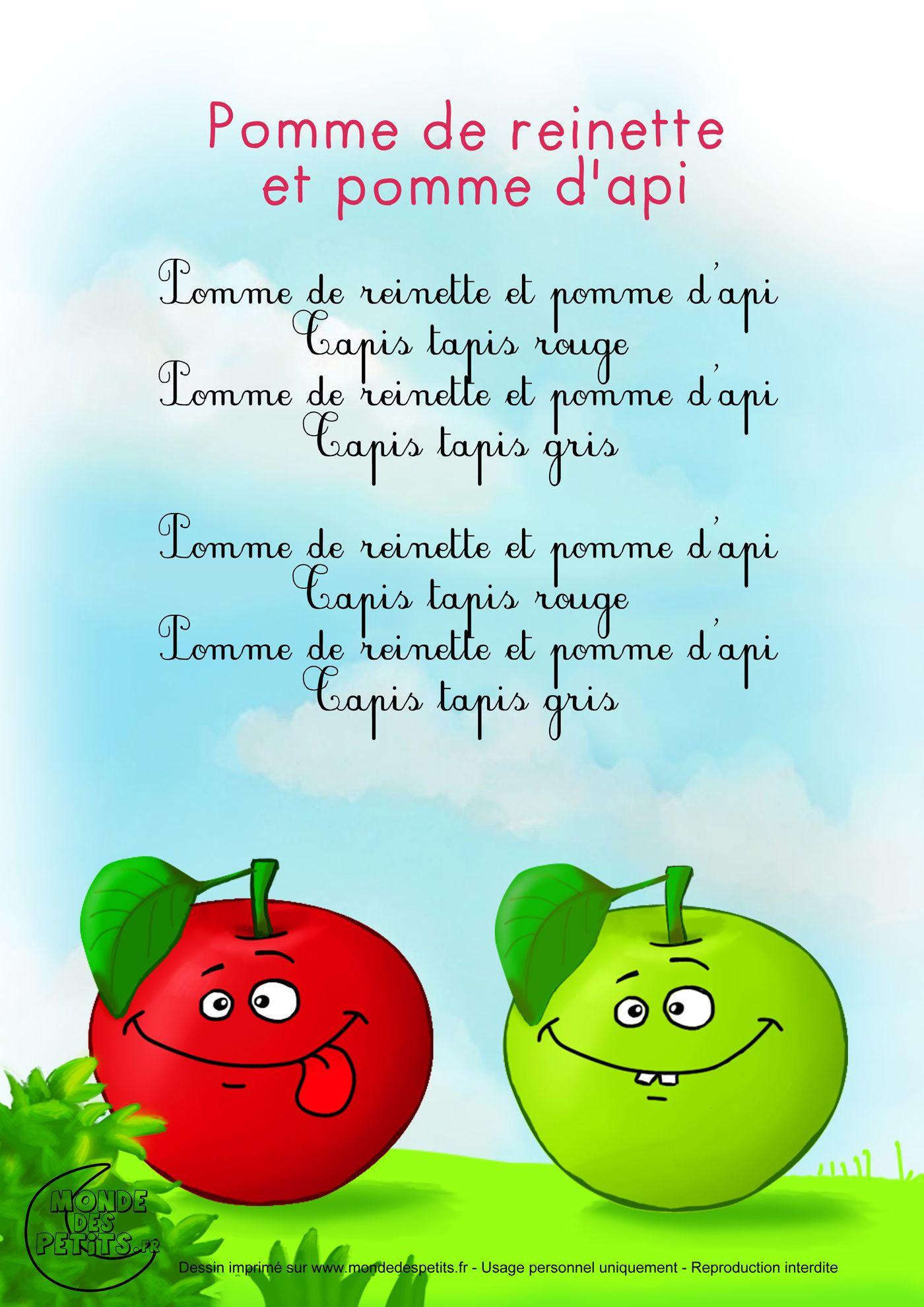 Paroles_Pomme De Reinette Et Pomme D'Api … | Comptines pour Contines Enfant